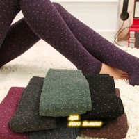 Sparkling Dot Design / Thicker Cotton + wool Knitted flexible Leggings / Ladies' fashion