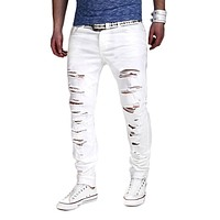 2017 Men's Pants Hole Cut Slacks Knee with Zipper Foot Stretch Trousers Ripped Jeans White Skinny Pencil Pants Joggers for Male