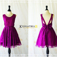 A Party V Shape Dress Magenta Purple Backless Dress Dark Magenta Cocktail Prom Dress Lace Wedding Bridesmaid Dresses Backless Dress XS-XL