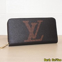 Louis Vuitton LV  Hot Sale Women  Leather Zipper Wallet Purse Dark Coffee