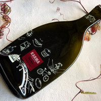 Slumped wine bottle cheese plate from Karma by bprdesigns on Etsy