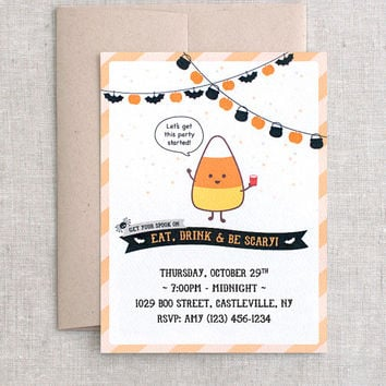 Printed Halloween Invitations Set, Personalized - Kawaii Candy Corn Recycled Halloween Birthday Party Invites