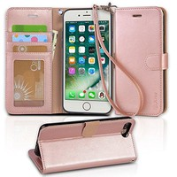 iphone 7 plus case, Arae iphone 7 plus wallet Case with Kickstand and Flip cover (Rose Gold)