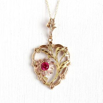1950s Flower Necklace - Vintage 10k Rosy Yellow Gold Pink Red Created Ruby Pendant - Rose & Green Gold Accents Fine Floral Esemco Jewelry