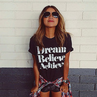 Letters printed round neck short sleeve t-shirt