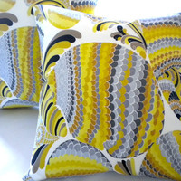 Yellow Trina Turk Driftwood Grey  Accent Pillow cover 18 x 18