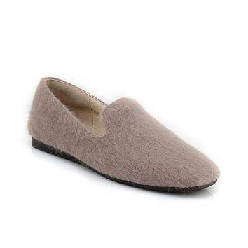 Women's Loafers Wool Warm Flats Shoes