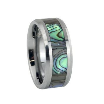 Tungsten wedding band with abalone shell inlay