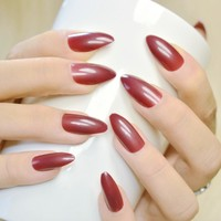 24pcs Sexy Purplish Red Stiletto False Nail Full Cover Acrylic Nail Tips Artificial Nails Fake Nails Fuax Ongles