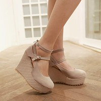 Women Wedges Ankle Wrap High Heels Platform Shoes 3529
