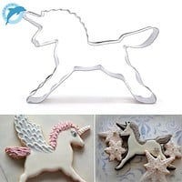 LINSBAYWUNew Coming 1Pcs Unicorn Horse Shape Cookies Cutter Fondant Cake Decorating Chocolate Biscuit Pastry Mould Baking Tools