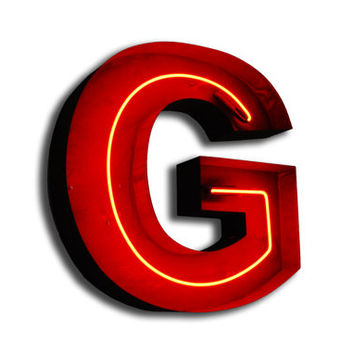 SALE! Vintage Marquee Lights NEON Letter G Red