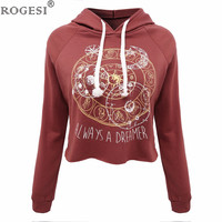 Rogesi 2016 New Casual Women T Shirts Hooded Long Sleeve Round Neck Short Shirt Women's Clothing American Apparel