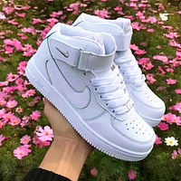 Onewel Nike AF1 Air Force 1 One Sneakers high-top casual shoes  pure white