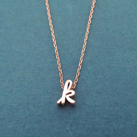 Personalized, Cursive lower case letter, Gold, Silver, Rose gold, Necklace, Birthday, Best friends, Sister, Gift, Jewelry