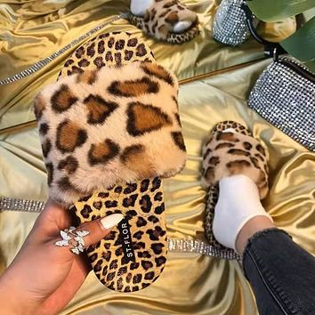 Summer new style women's outer wear fashionable leopard print flat-bottomed fur slippers shoes
