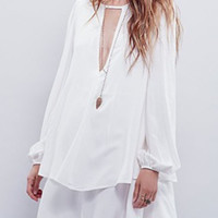 White Cut-out Long Sleeve Layered A-Line Dress