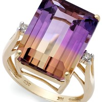 14k Gold Ring, Ametrine (10 ct. t.w.) and Diamond Accent Emerald-Cut Ring