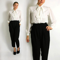 Vintage 70's 80's Daniel Duval French White Sheer Mesh Pussy Bow Blouse - Medium