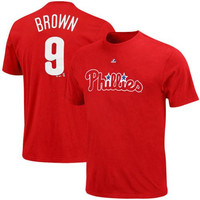 Majestic Domonic Brown Philadelphia Phillies Player Name & Number T-Shirt - Red