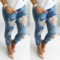 Women  Ripped Distressed Jeans  with Lace Inserts Loose Fit