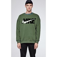 N Nike Trending Women Men Stylish Print Long Sleeve Round Collar Sweater Top Sweatshirt Green