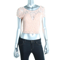 Material Girl Womens Juniors Lace V-Back Crop Top
