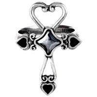 Alchemy Gothic Amour Éternal Heart Shaped Cross Ring
