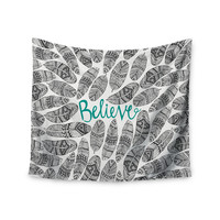"""Pom Graphic Design """"Believe"""" Gray Teal Wall Tapestry"""