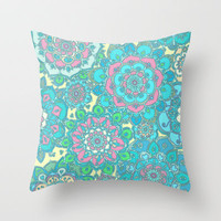 Candy Doodles, floral doodles in pink and blue Throw Pillow by micklyn