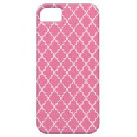 Persimmon Coral Pink And White Marocan Trellis iPhone 5 Case