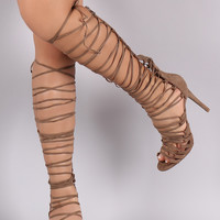 Wild Diva Lounge Suede Corset Lace-Up Gladiator Heel