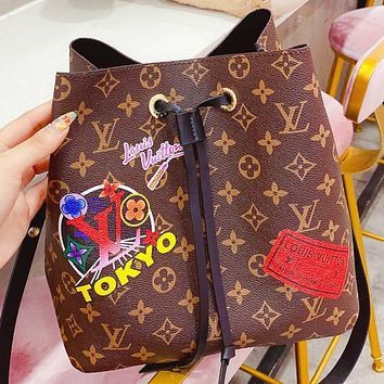 Louis Vuitton LV Fashion New Monogram Print Leather Shoulder Bag Crossbody Bag Bucket Bag Coffee