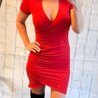 Just a Little Crush Wrap Dress: Red