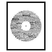 Vinyl record typography- Vinyl record art Vinyl printable Gift for music lover Music typography Music decor Music decor Vinyl decor