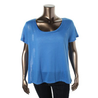 Extra Touch Womens Plus Striped Mesh Back Casual Top