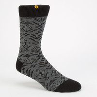 Focused Space Native Print Mens Crew Socks Grey/White One Size For Men 24876197501