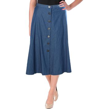 NY Collection Womens Button Down Mid-Calf Denim Skirt