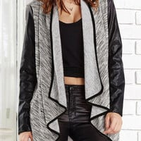 Flounced Leather Sleeves Open Front Jacket