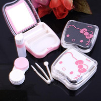New hello kitty contact lens case for eyes cute plastic eyeglass case for lenses care box set with sucker and Tweezers