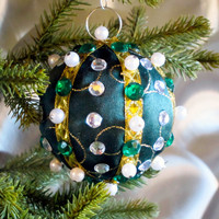 Christmas Ornament, Green Ball with Gold & Pearl Accents in Gift Box, Handmade Fabric Tree Decoration, Holiday Decor, Boxed Wrapped Present
