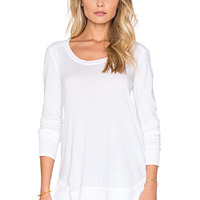 Very Light Jersey & Thermal Long Sleeve Loose Tee in White