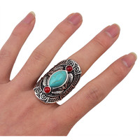 Bohemian style tibet silver design red natural turquoise gem stone ring