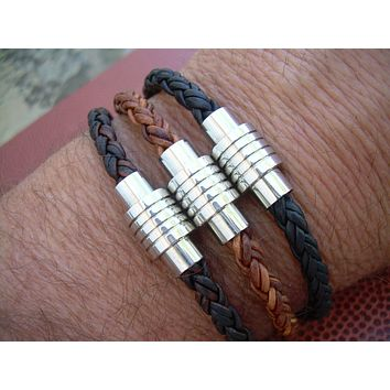 Braided Leather Bracelet with Spiral Ring Stainless Steel Magnetic Clasp