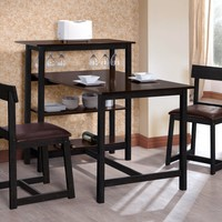 King's Brand D3763 Classic Dining Room Kitchen Set, Espresso and Black Finish