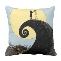 Jack and Sally Holding Hands Under the Moon Throw Pillow
