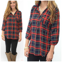 SZ LARGE Rhode Island Rendezvous Navy & Red Plaid Top