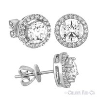 Sterling Silver Round Cut Studs Earrings 5A GRADE Cubic Zirconia Fashion Jewelry
