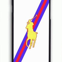 Polo Ralph Lauren Red Blue Stripe Logo For iPhone 6/6S Case *