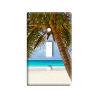 Tropical Palm Tree Ocean Beach Light Switch Plate Cover